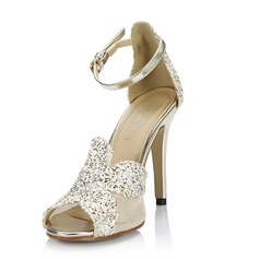 Women's Leatherette Stiletto Heel Sandals Pumps Peep Toe With Sparkling Glitter Buckle shoes