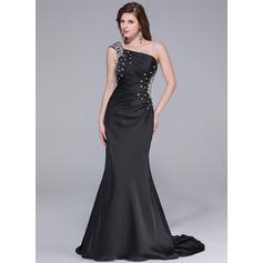 Trumpet/Mermaid One-Shoulder Watteau Train Satin Chiffon Prom Dress With Ruffle Beading
