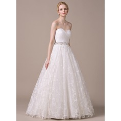 Ball-Gown Sweetheart Floor-Length Organza Lace Wedding Dress With Ruffle Beading Sequins