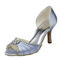 Women's Satin Stiletto Heel Peep Toe Sandals With Rhinestone Ruched