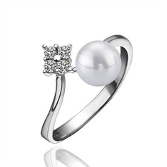 Beautiful Copper Platinum Plated With Imitation Pearl Ladies' Fashion Rings