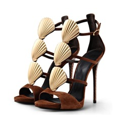 Real Leather Stiletto Heel Sandals shoes
