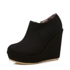 المرأة سويدي كعب ويدج مضخات منصة تو مغلقة أسافين الأحذية أحذية الكاحل مع سحاب أحذية