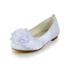 Kids' Satin Flat Heel Closed Toe Flats With Satin Flower