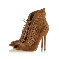 Women's Suede Stiletto Heel Ankle Boots Martin Boots With Tassel shoes
