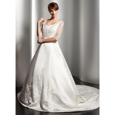 Ball-Gown V-neck Chapel Train Satin Wedding Dress With Lace Beading