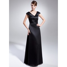 A-Line/Princess V-neck Floor-Length Satin Mother of the Bride Dress With Ruffle