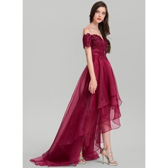 A-Line/Princess Off-the-Shoulder Asymmetrical Organza Evening Dress With Sequins (017116326)