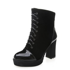 Women's Suede Leatherette Chunky Heel Pumps Platform Closed Toe Boots Ankle Boots With Split Joint shoes