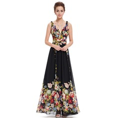 Polyester/Chiffon With Print Maxi Dress (199090366)