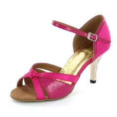Women's Satin Heels Sandals Latin Ballroom Salsa Wedding Party With Bowknot Buckle Dance Shoes
