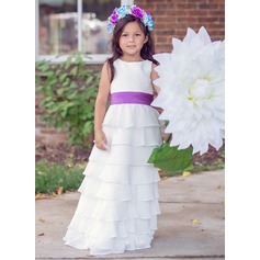 A-Line/Princess Floor-length Flower Girl Dress - Chiffon Sleeveless Scoop Neck With Ruffles/Sash