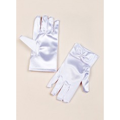 Elastic Satin With Bow Wrist Length Glove