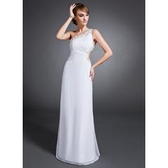 Etui-Linie One-Shoulder-Träger Bodenlang Chiffon Abendkleid mit Rüschen Perlen verziert Pailletten