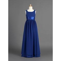 Forme Princesse Longueur ras du sol Robes à Fleurs pour Filles - Mousseline de soie/Charmeuse Sans manches Col rond avec Plissé