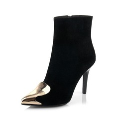 Real Leather Stiletto Heel Ankle Boots With Zipper shoes