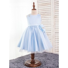 A-Line/Princess Knee-length Flower Girl Dress - Polyester Sleeveless Scoop Neck With Beading/Flower(s)/Bow(s)