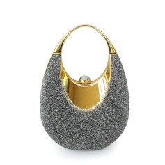 Shining Metal With Glitter Top Handle Bags