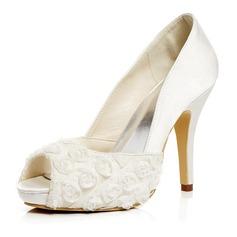 Women's Satin Stiletto Heel Pumps Sandals With Satin Flower