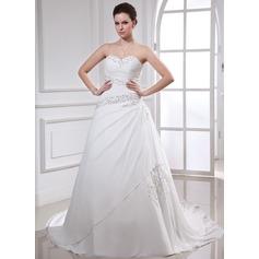 Balklänning Hjärtformad Chapel släp Chiffong Bröllopsklänning med Rufsar Pärlbrodering Applikationer Spetsar Paljetter