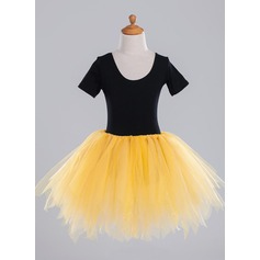 A-Line/Princess Short/Mini Flower Girl Dress - Tulle Short Sleeves Scoop Neck