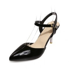 Patent Leather Spool Heel Pumps Closed Toe With Buckle shoes