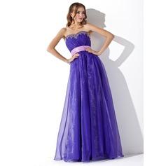 Corte A/Princesa Escote corazón Hasta el suelo Organdí Vestido de baile de promoción con Volantes Fajas Bordado