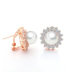 Gorgeous Pearl/Copper/Zircon/Platinum Plated Ladies' Earrings