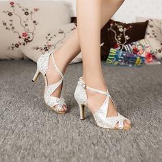 Mulheres Couro Sandálias Latino Sapatos de dança