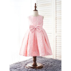 Ball Gown Knee-length Flower Girl Dress - Cotton/Chinlon Sleeveless Scoop Neck With Bow(s)