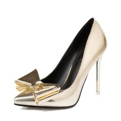 Women's Real Leather Stiletto Heel Pumps Closed Toe With Bowknot shoes