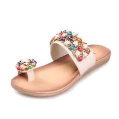 Leatherette Flat Heel Sandals Slippers With Beading shoes