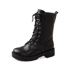 Leatherette Low Heel Ankle Boots Martin Boots With Lace-up shoes