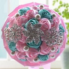 Fancy Round Satin/Rhinestone Bridal Bouquets/Bridesmaid Bouquets