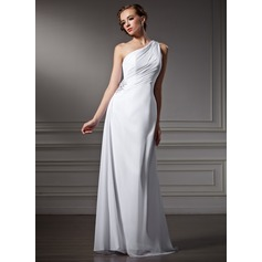 Sheath/Column One-Shoulder Sweep Train Chiffon Wedding Dress With Ruffle Beading