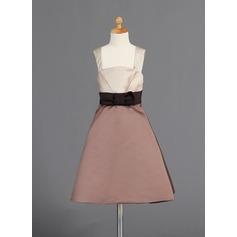Forme Princesse Longueur genou Robes à Fleurs pour Filles - Satiné Sans manches Bretelles avec À ruban(s)