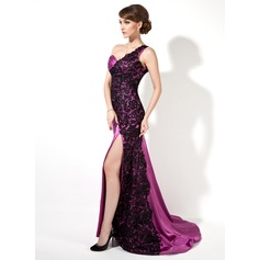 Trumpet/Mermaid One-Shoulder Sweep Train Charmeuse Lace Evening Dress With Ruffle Split Front