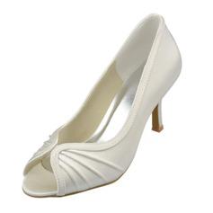 Women's Satin Stiletto Heel Peep Toe Pumps Sandals