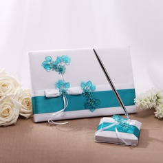 Flowers Design Satin Bow Guestbook/Pen Set