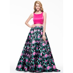 A-Line/Princess Scoop Neck Sweep Train Satin Prom Dress