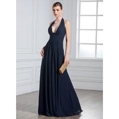 A-Line/Princess Halter Floor-Length Chiffon Evening Dress With Ruffle