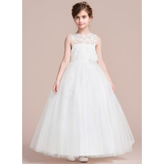 Ankle-length Flower Girl Dress - Satin/Tulle Sleeveless Scoop Neck With Appliques/Flower(s)