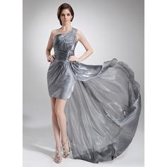 Sheath/Column One-Shoulder Asymmetrical Organza Prom Dress With Ruffle Beading