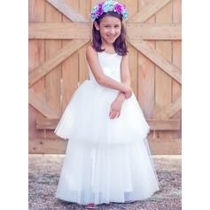 A-Line/Princess Floor-length Flower Girl Dress - Tulle/Cotton Sleeveless Scoop Neck