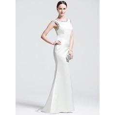 Trumpet/Mermaid Scoop Neck Sweep Train Satin Evening Dress With Beading Sequins