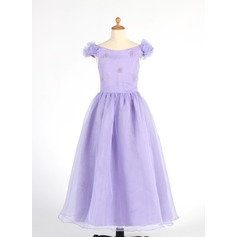 A-Line/Princess Ankle-length Flower Girl Dress - Organza Sleeveless Off-the-Shoulder With Beading/Flower(s)