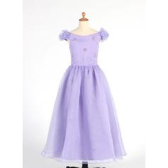 Forme Princesse Longueur cheville Robes à Fleurs pour Filles - Organza Sans manches Hors-la-épaule avec Brodé/Fleur(s)