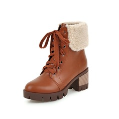 Women's Leatherette Low Heel Platform Mid-Calf Boots Martin Boots With Fur Braided Strap shoes