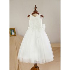 A-Line/Princess Knee-length Flower Girl Dress - Satin/Tulle Sleeveless Scoop Neck With Bow(s) (010094047)