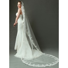 One-tier Cathedral Bridal Veils With Lace Applique Edge (006090098)